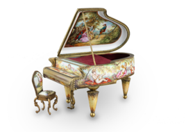 A large vintage Viennese enamel and gilt metal musical grand piano with chair