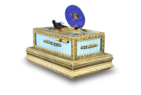 Powder blue guilloche and pictorial enamel singing bird box casket, by C. H. Marguerat
