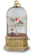 Antique double singing cockatiels-in-cage, by Bontems