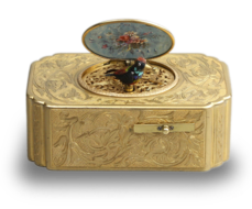 Antique gilt metal and pictorial enamel singing bird box, by John Manger