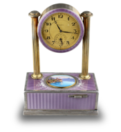 Vintage silver-gilt, guilloche lilac enamel and pictorial enamel timepiece alarm-actuated singing bird box, by C. H. Marguerat