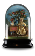 Antique double monkey musical automaton under glass dome, by Jean Phalibois