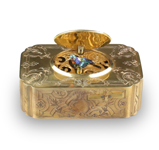 Antique Gilt metal and enamel singing bird box, by Flajoulot