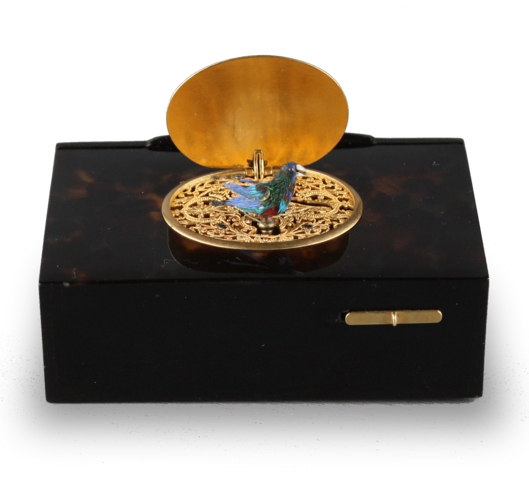 Antique Tortoiseshell singing bird box, by Bontems