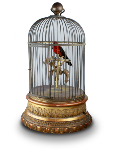 Antique large single singing bird-in-cage, by Jean Phalibois
