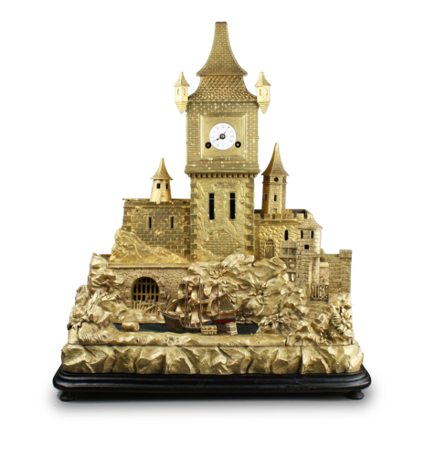 Antique gilt bronze castle fort timepiece, with rocking ship automaton