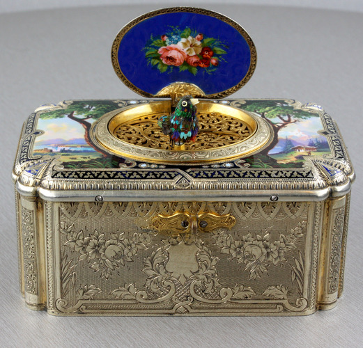 Antique tall-proportioned silver-gilt and full pictorial lidded singing bird box, by Charles Bruguier
