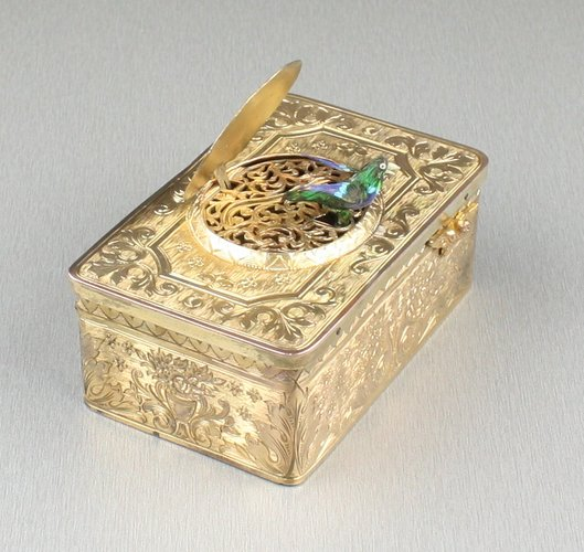 Gilt metal singing bird box, by Karl Griesbaum