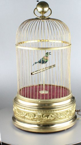 Large antique single singing bird-in-cage, by Bontems