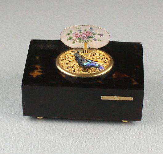 Antique Tortoiseshell and pictorial enamel singing bird box, by Bontems