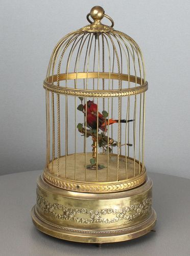 A small vintage circular single singing bird-in-cage, by Bontems