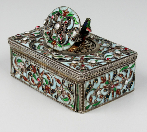 Silver and cloisonne enamel, garnet, pearl and aquamarine-set singing bird box