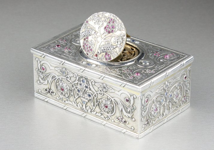 Antique Silver, Pearl, Garnet and Aquamarine transparently-mounted set singing bird box, by Raymy