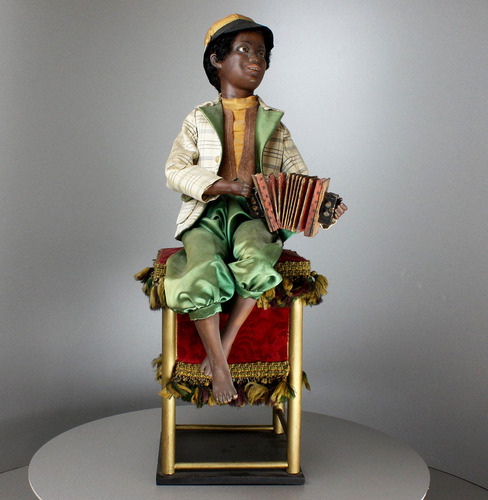 Antique black accordion player musical automaton, by Gustave Vichy