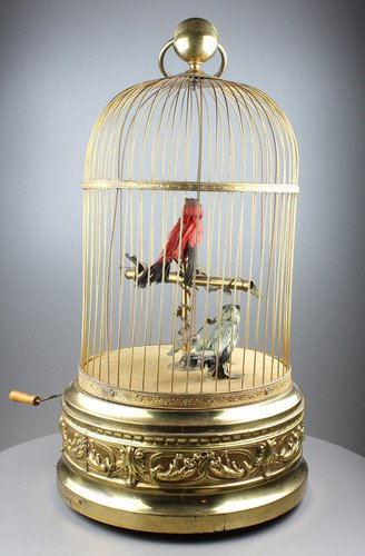 Large antique double singing birds-in-cage, by Bontems