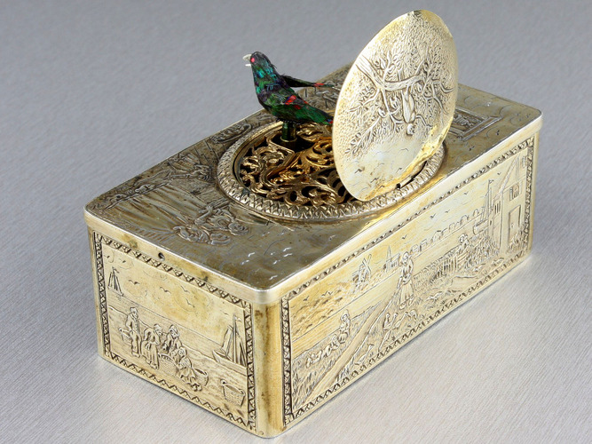 Silver-gilt singing bird box, by Karl Griesbaum