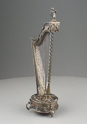 Antique Silver-gilt and amethyst mounted musical harp