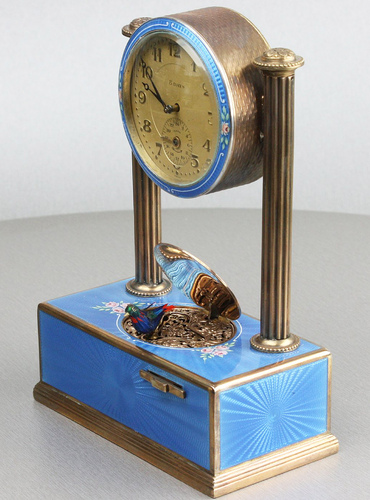 Vintage silver-gilt, guilloche and pictorial enamel timepiece alarm-actuated singing bird, by C. H. Marguerat