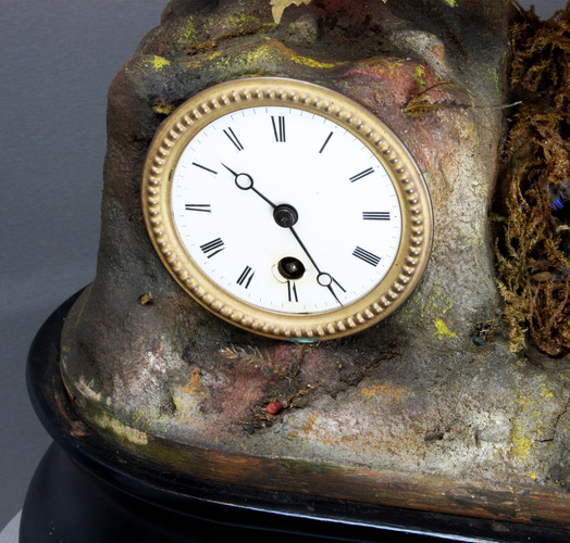 Antique chirping bird-jumper automaton timepiece, by Phalibois