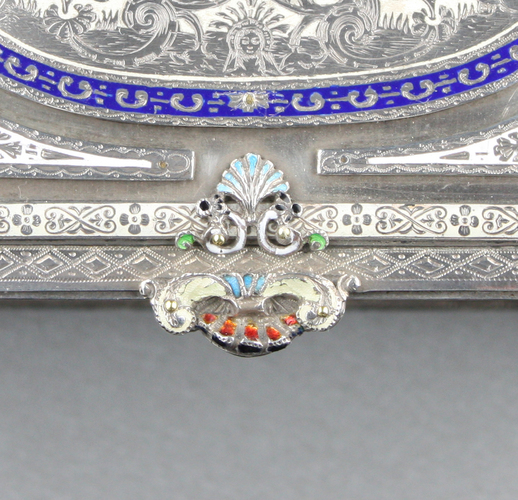 Antique Silver and enamel musical casket