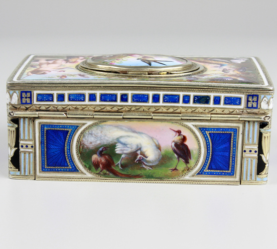 Exceptional silver and full pictorial enamel singing bird box, by Karl Griesbaum