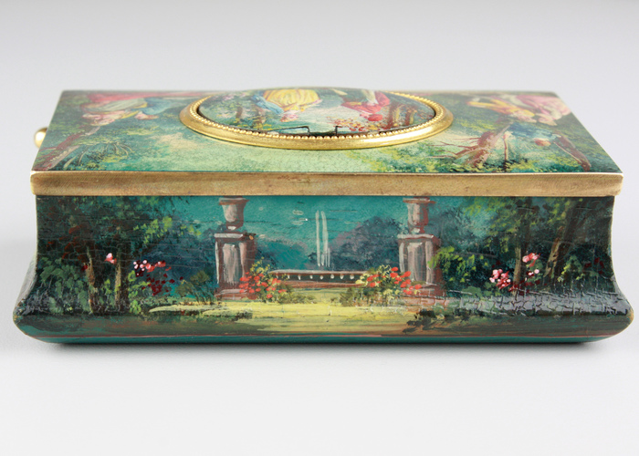 Antique silver gilt and finely painted sarcophagus-form wooden singing bird box, by E. Flajoulot