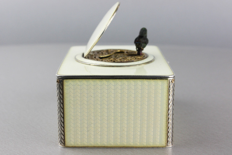 Silver and full cream guilloche enamel singing bird box
