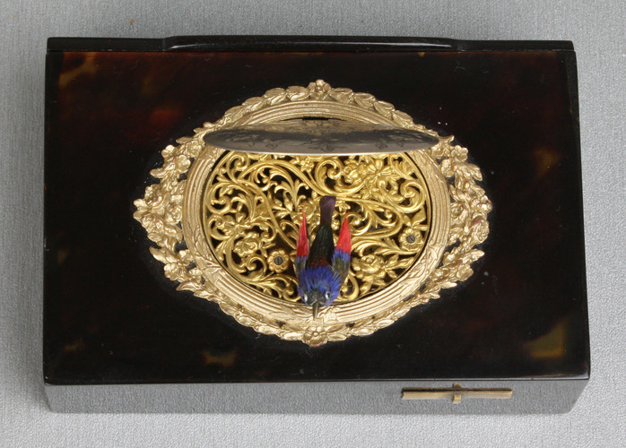 An antique tortoiseshell, silver and gilt metal singing bird box, by Raymy